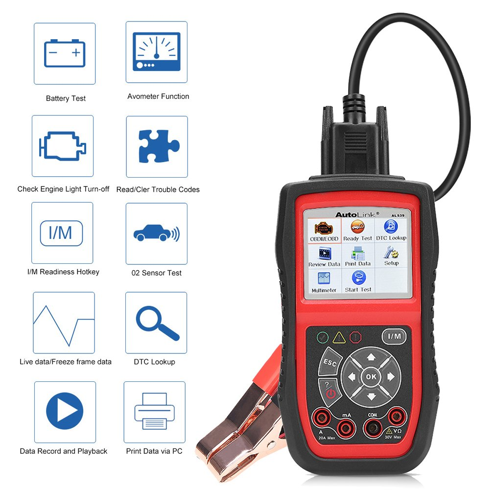 Autel AL539B Battery Tester OBD2 Code Reader OBDII Scanner Professional Electrical Test Tool Avometer by Autel (Image #1)