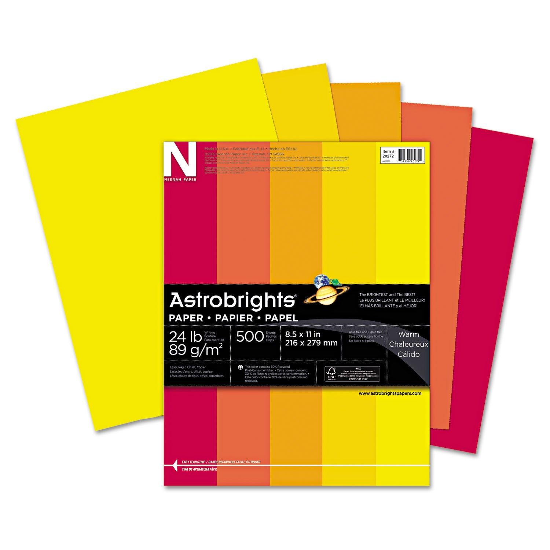 """Astrobrights Color Paper, 8.5"""" x 11"""", 24 lb/89 gsm, """"Warm"""" 5-Color Assortment, 500 Sheets (20262)"""