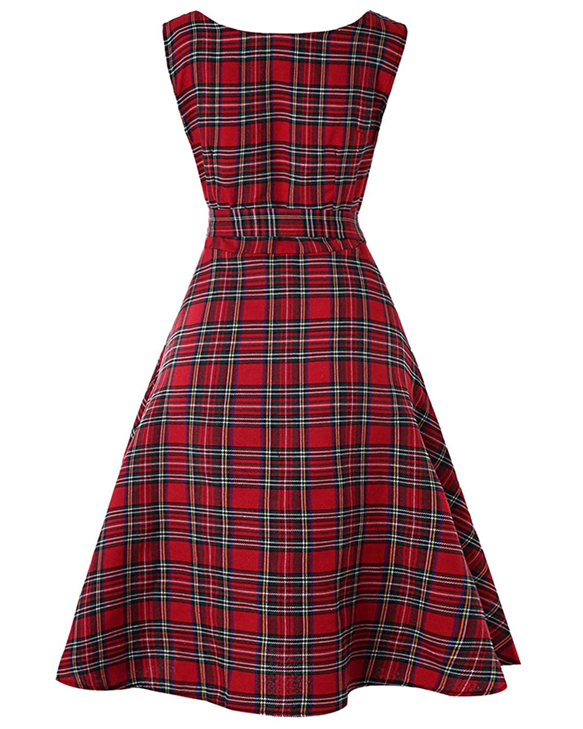 b531274c73796c ZAFUL Women's 50s Vintage Floral Sleeveless Dress Spring Garden Swing Party  Picnic A Line Cocktail Dress(Red Plaid with Belt,L): Amazon.ca: Clothing &  ...