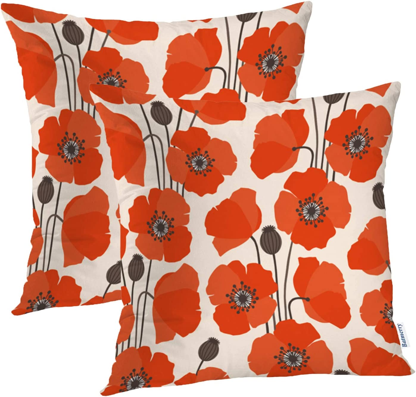 Batmerry Spring Pillows Decorative Throw Pillow Covers 18x18 Inch Set of 2, Poppy Poppy Flower Red Nature Retro Seeds Spring Double Sided Square Pillow Cases Pillowcase Sofa Cushion