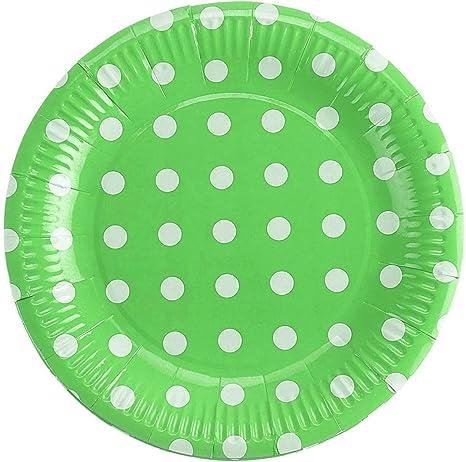 Set 50 Pezzi, Verde takestop/® Piatti Piatto di Carta Quadrati Pois 2x20x23 cm Piccoli USA E Getta Compleanni Matrimonio Nascita Battesimo Feste Party
