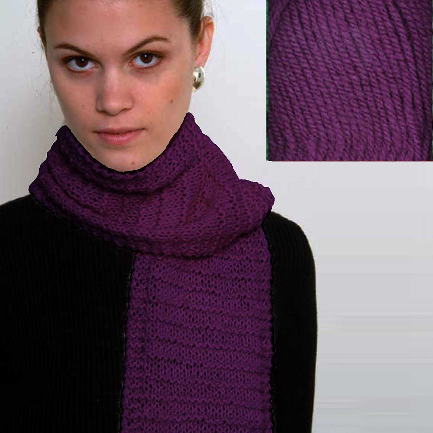 Tan Strata Beginners Scarf Knit Kit with Encore Worsted Yarn