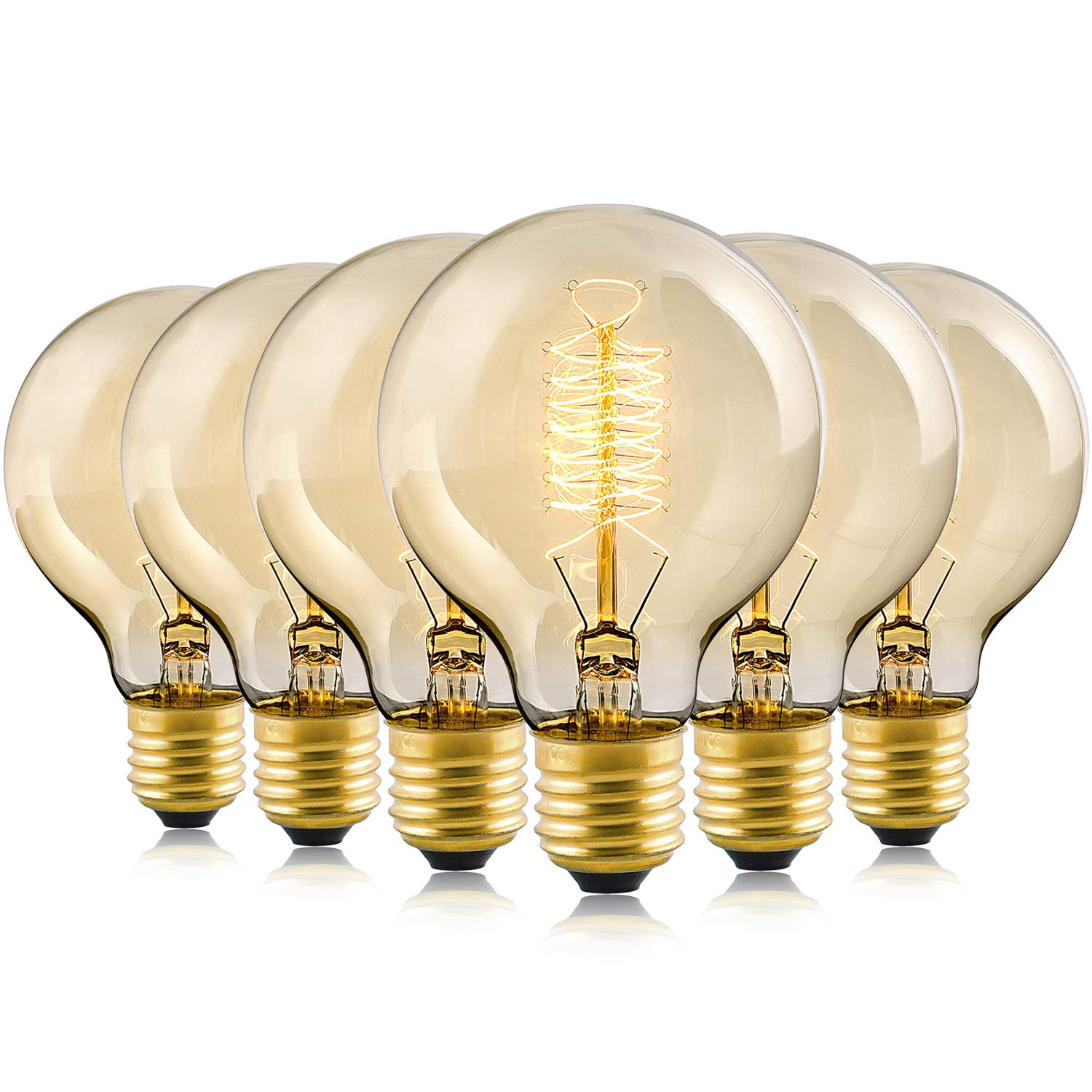 Edison Bulb, 60Watt 2200K Warm White Vintage Incandescent Edison Light Bulbs, E26 Base 230 Lumens Dimmable, G80 Antique Filament Style Decorative Lightbulbs (6 Pack)