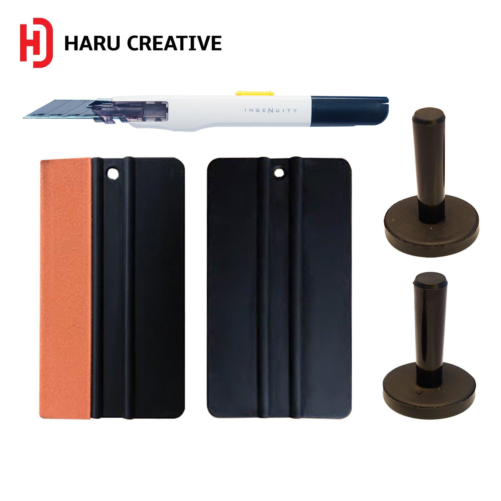 Haru Creative - Automotive Car Tool Kit for Car Vinyl Wrapping Window Tinting Installation Professional Grade Kit - Car Magnets Felt Edge Squeegee Razor Knife
