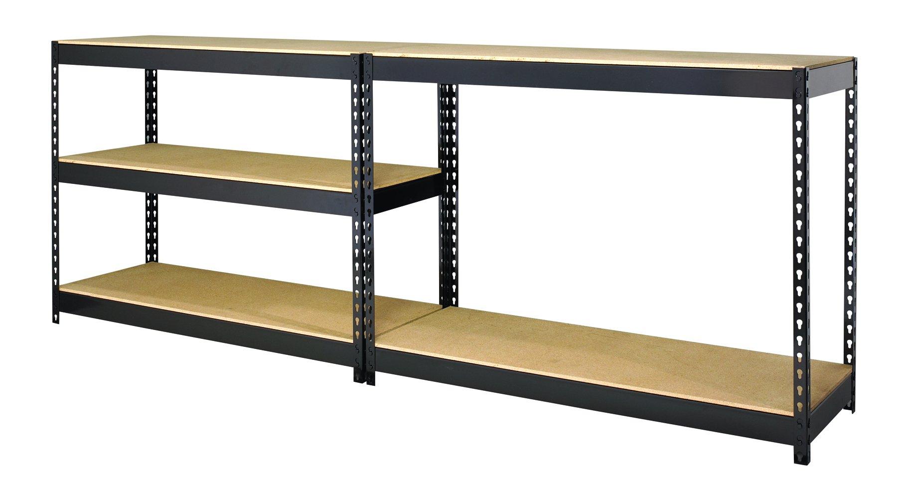 Hirsh Industries Office Dimensions Riveted Steel Shelving 4-Shelf Unit, 30'' W x 16'' D x 60'' H, Black by Hirsh Industries (Image #2)