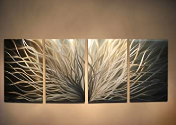 Metal Wall Art, Modern Home Decor, Abstract Sculpture Contemporary   Radiance Silver And Gold