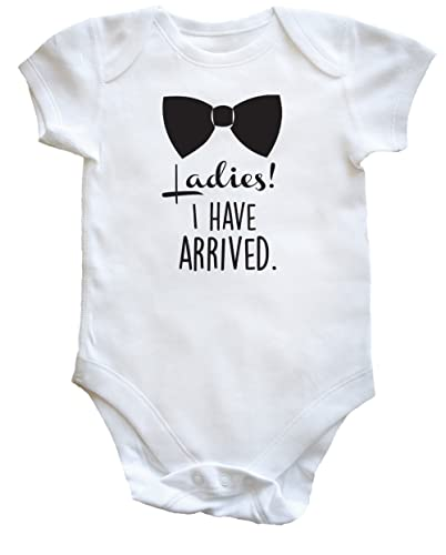 Hippowarehouse Ladies I Have Arrived Bow tie Cheeky chap Baby Vest Bodysuit (Short Sleeve) Boys Girls