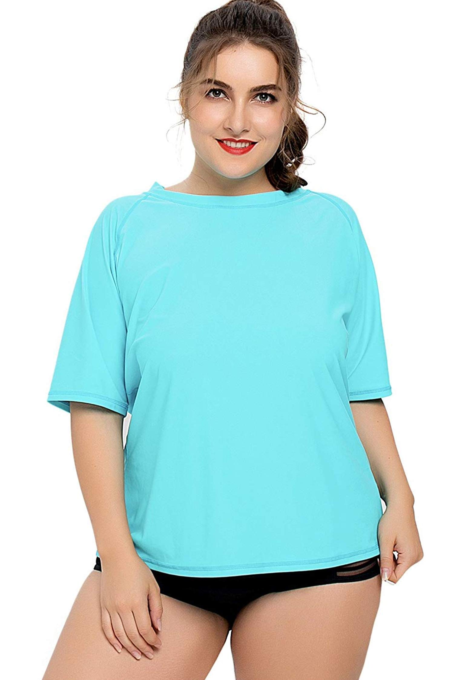 ATTRACO Womens Plus Size Rash Guard Shirts Short Sleeve Solid Rashguards 1X Aqua