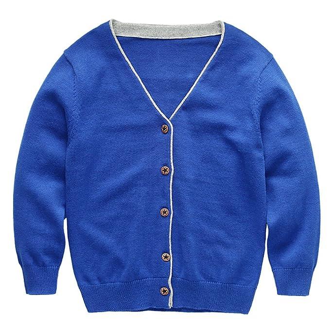 8cd64781 Amazon.com: Abalaco Boy's Unisex Cotton V-neck School Uniforms Top Shirt  Cotton Long Sleeve Cardigan Sweater (3-4 Years, Blue): Clothing