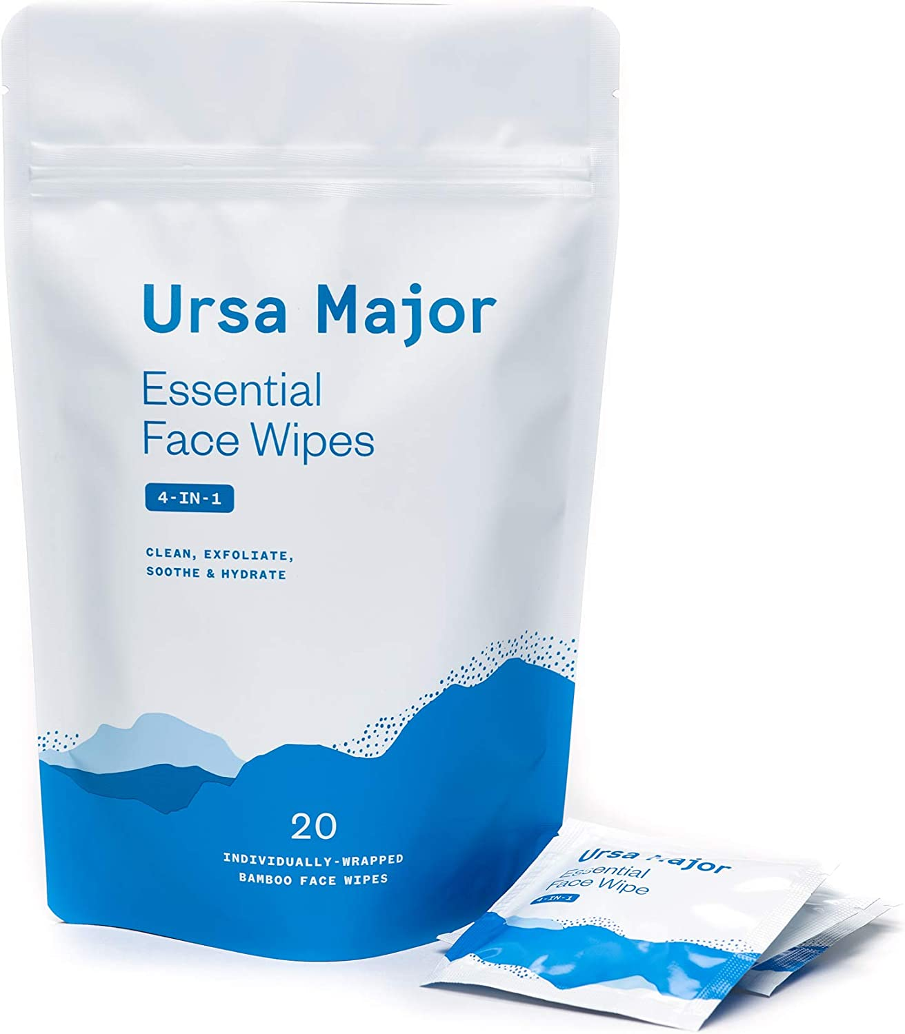 Ursa Major Essential Face Wipes | Natural, Biodegradable, Cruelty-Free | Cleanse, Exfoliate, Soothe and Hydrate | 20 Count