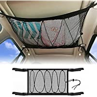 Ceiling Cargo Net Pocket, Car Roof Long Trip Storage Bag with Zipper, Adjustable Automotive Sundries Storage Pouch,Tent…