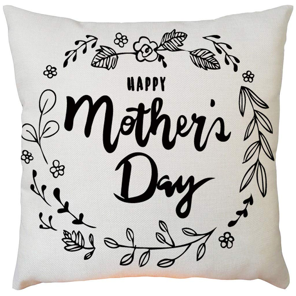 Pillow case Protector with Zipper,EOWEO Happy Mother's Day Sofa Bed Home Decoration Festival Pillow Case Cushion Cover(43cm×43cm,I)