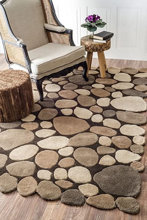 High Quality Nuloom 5u0027 X 8u0027 Hand Tufted Pebbles Rug In Natural Amazing Pictures