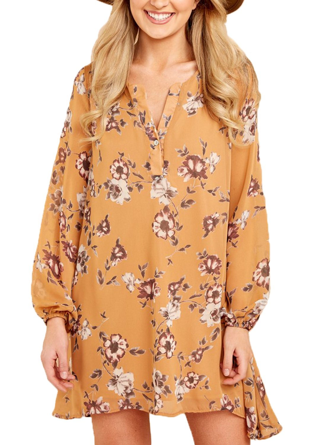 Asvivid Womens Boho Floral Print Long Sleeve Beach Cover Ups Summer Mini Dress AF220406-A