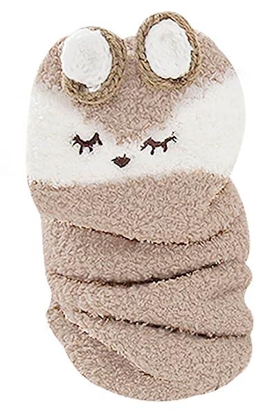 kacakid - Calcetines Invierno Otoño de Coral Terciopelo Unisex Bebés Dibujo de Ciervo Mono Grueso Caliente