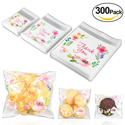 Bolsas de agradecimiento 300pz Yosemy Bolsa de sellado para fiesta de dulces Galletas, bolsas plásticas para alimentos con cinta adhesiva para dulces ...