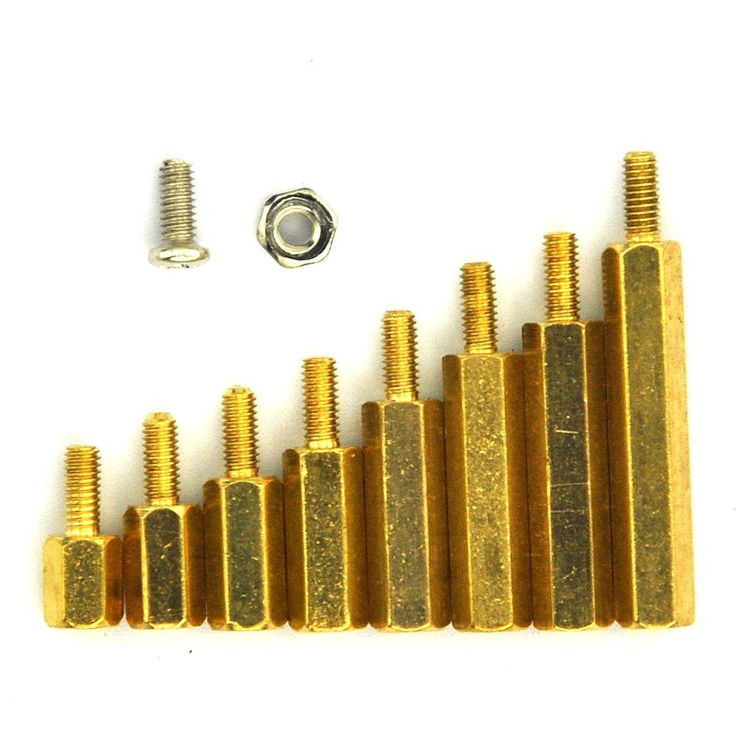 8/mm cabezales hexagonales M2.5 m/étricos Kit surtido de tuercas acero inoxidable Espaciadores de 6/mm Electronics-Salon 18/& 15/mm tornillos y espaciadores para Raspberry Pi lat/ón 12/mm 10/mm macho y hembra