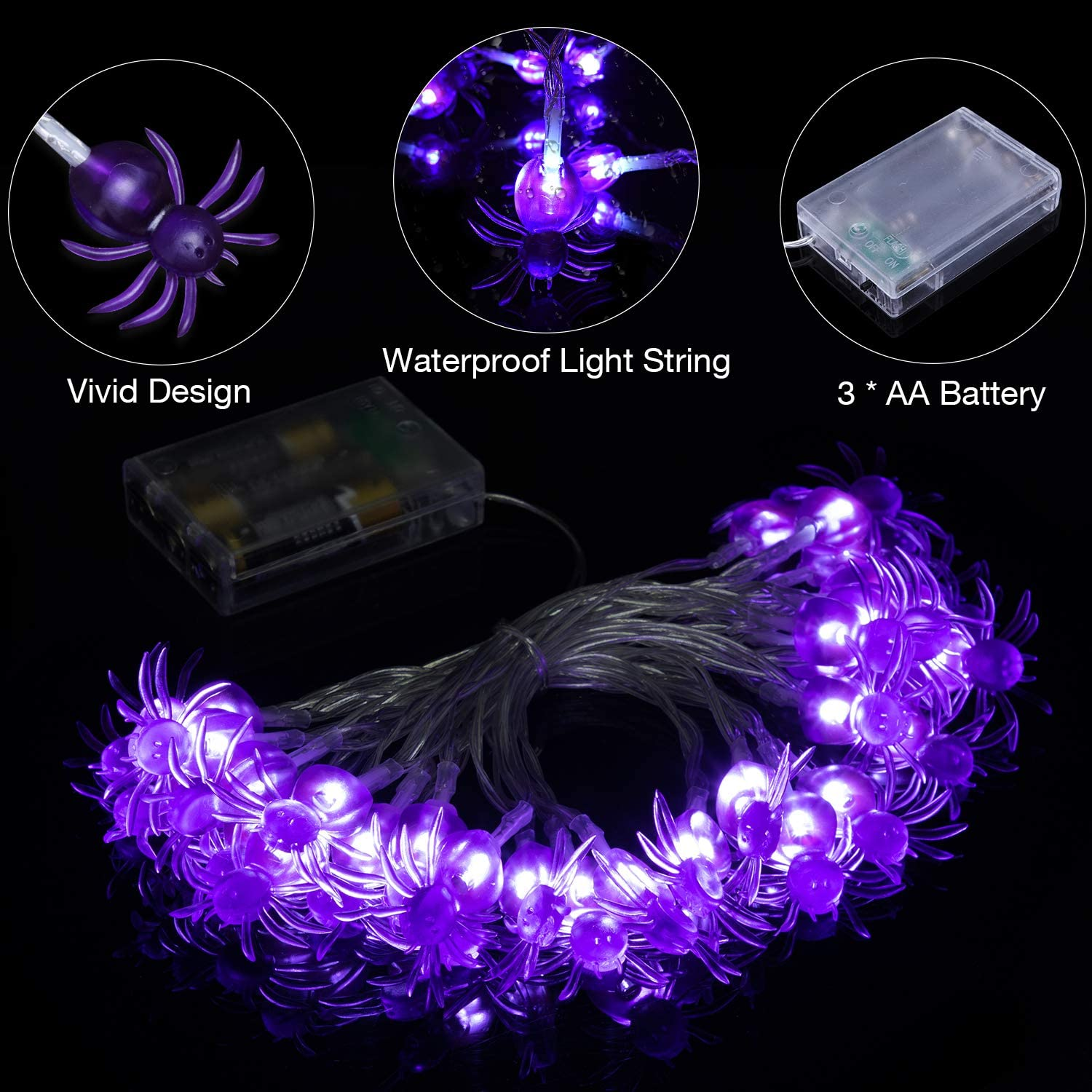 CHEAP Halloween Battery Operated Light up Eye Spider in Web FREE P/&P
