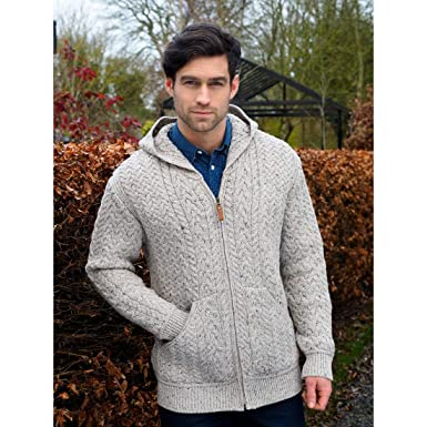 9e96f692af9c75 Image Unavailable. Image not available for. Color  100% Merino Wool Mens  Cable Knit Hooded Cardigan