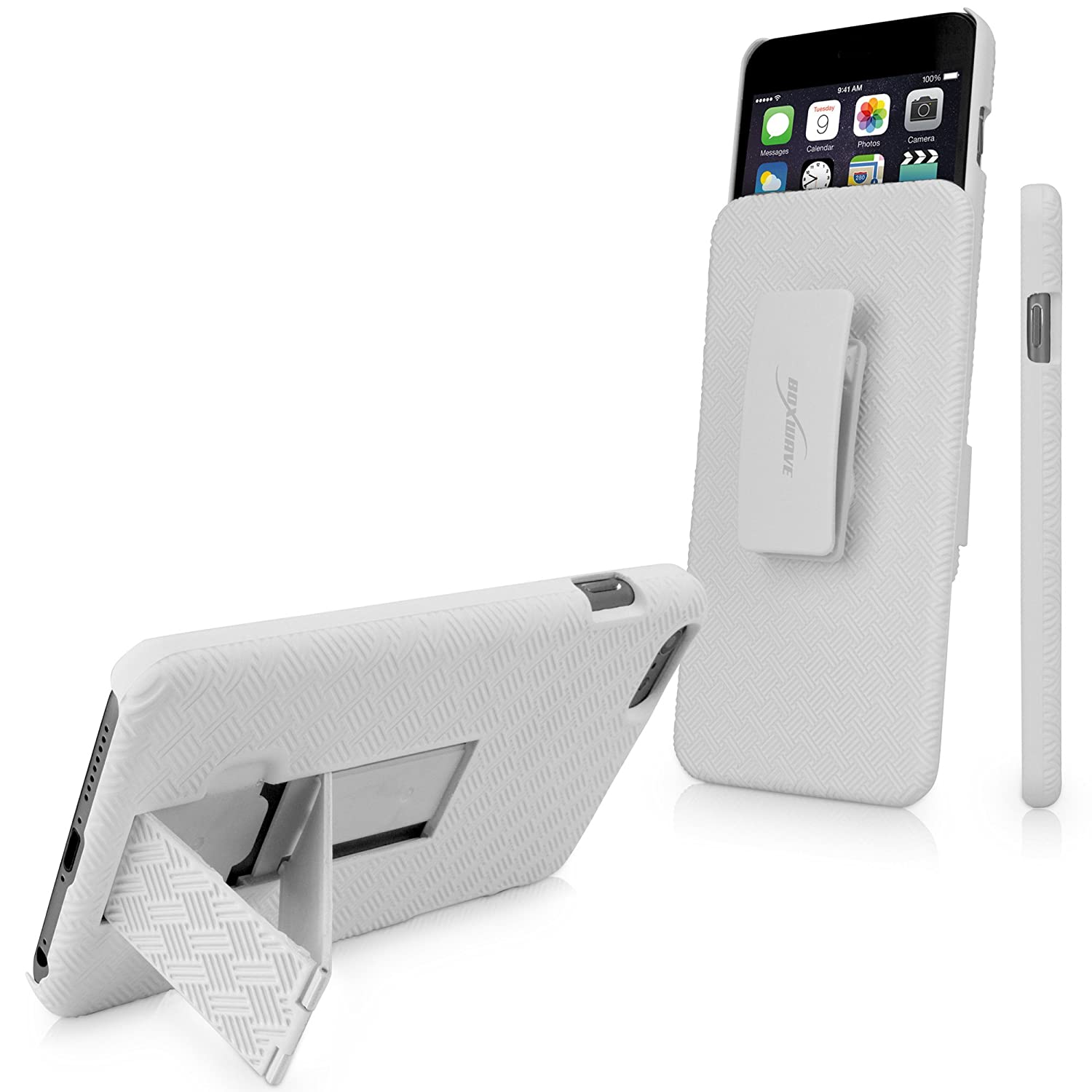 premium selection 01da2 bbeaa BoxWave Dual+ Apple iPhone 6 Plus Holster Case - 3-in-1 Holster Combo -  Case, Belt Clip Holster, Stand (Winter White)