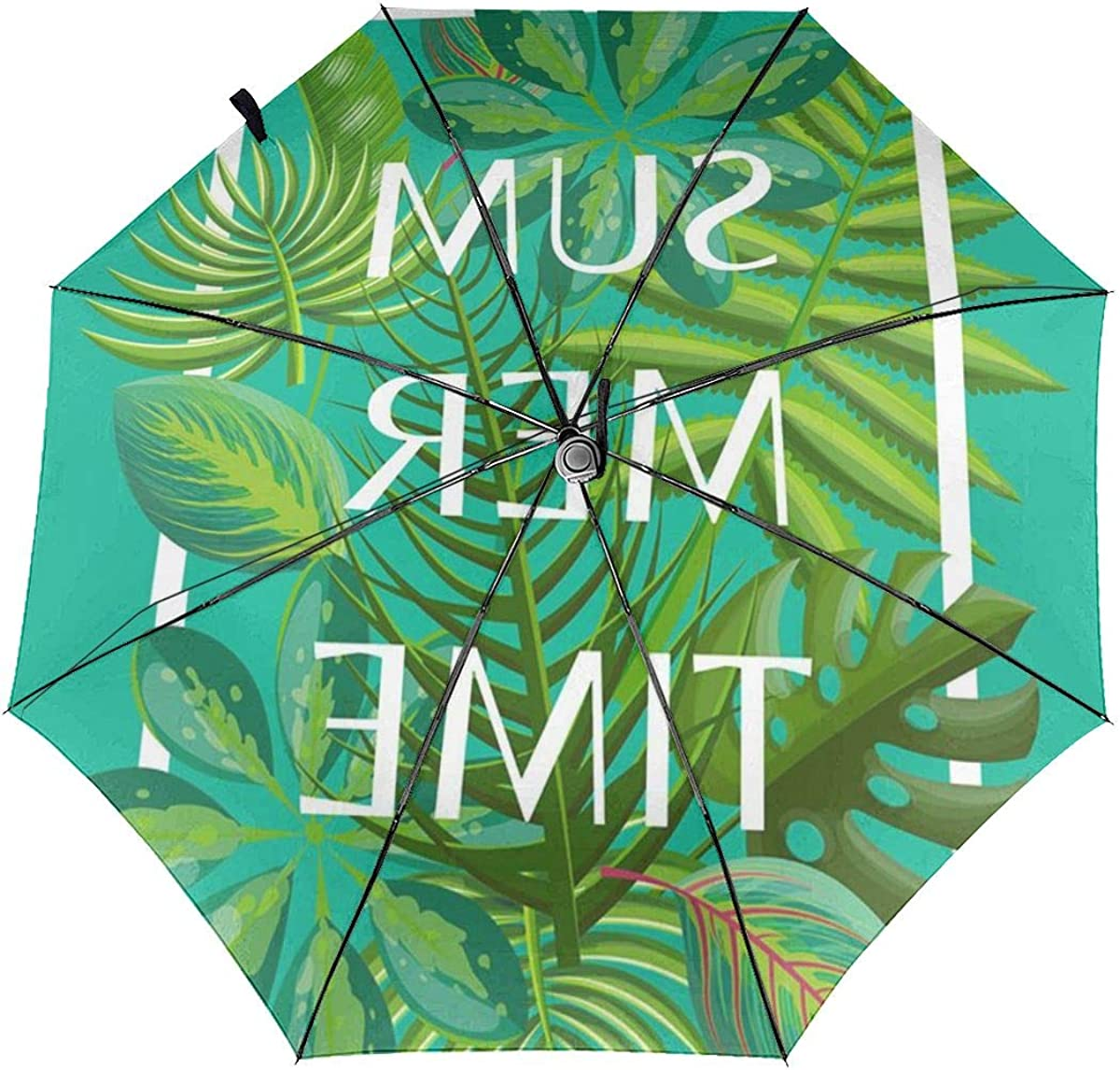 Green Tropical Summer Leaves Compact Travel Umbrella Windproof Reinforced Canopy 8 Ribs Umbrella Auto Open And Close Button Customized
