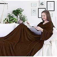 DecoKing Manta de Microfibra con Mangas y Bolsillos, Microfibra, Suave y mullida, Microfibra, Chocolate, 170 x 200 cm