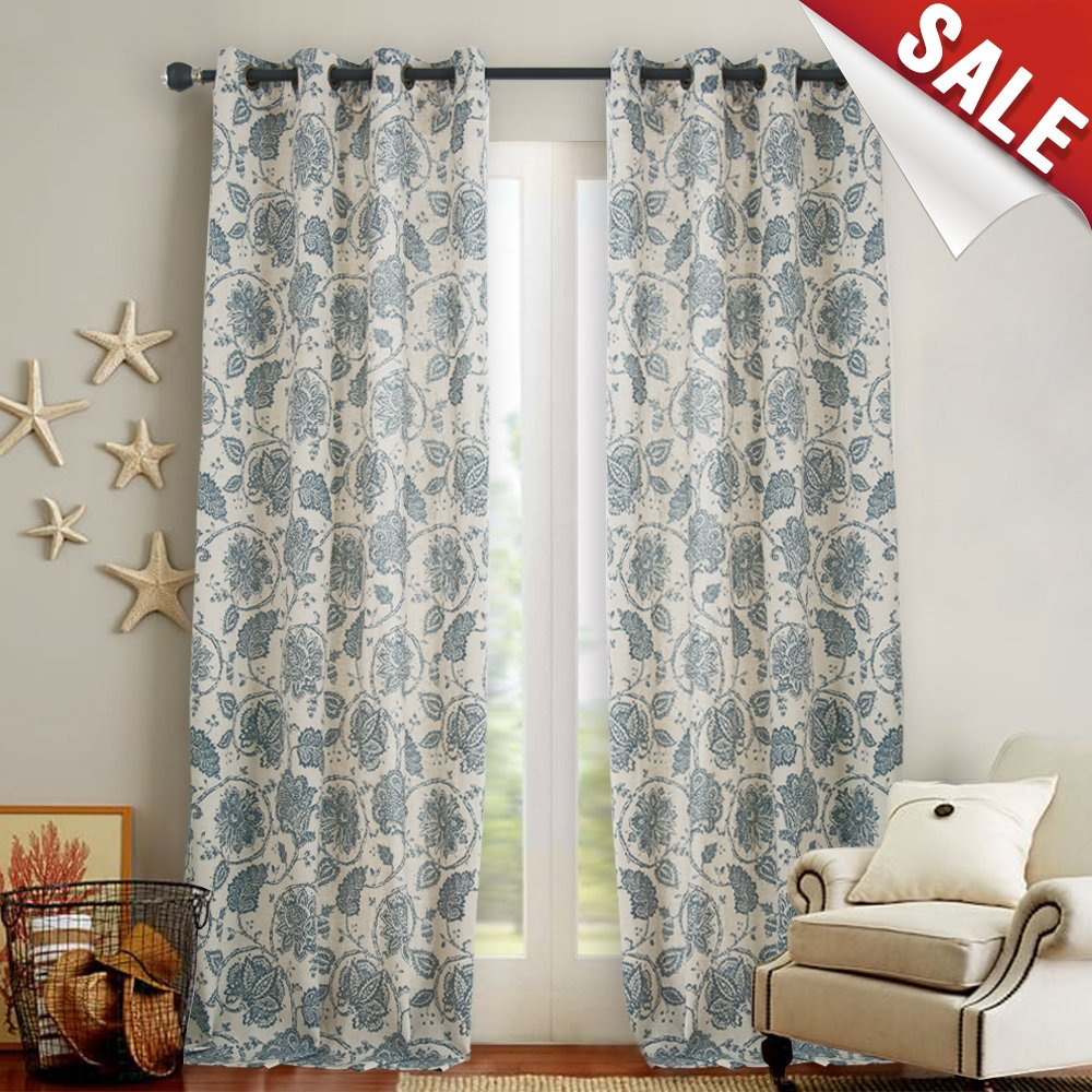 Floral Scroll Printed Linen Curtains, Grommet Top - Ikat Flax ...