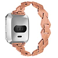 for Fitbit Versa Stainless Steel iWatch Band, Diamond Shaped Replacement Strap for Fitbit Versa Watch (Rose Gold)