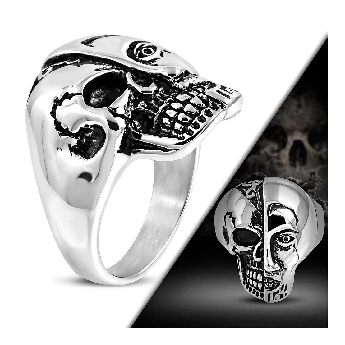 Stainless Steel 2 Color Two Face Skull Biker Ring