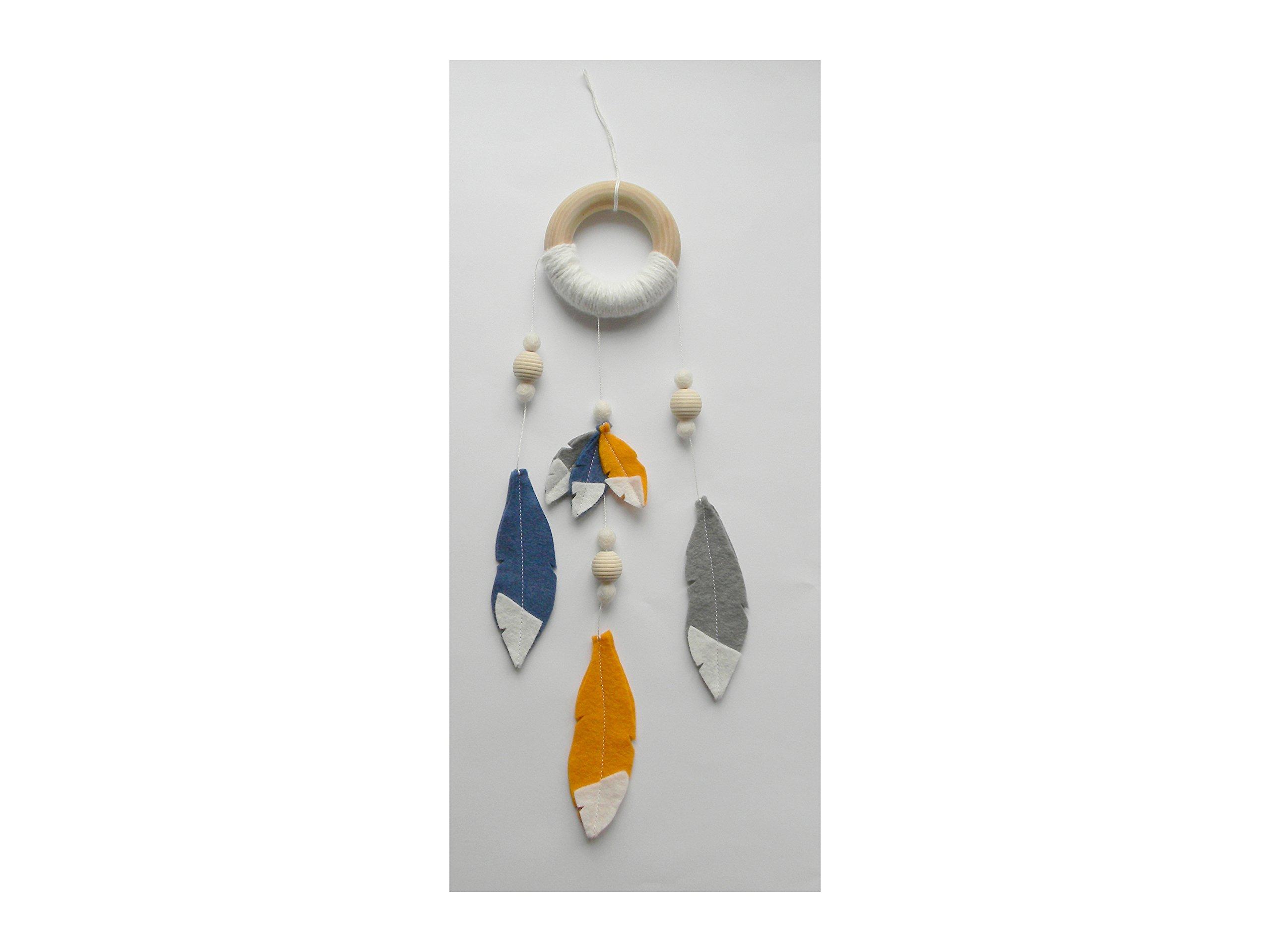 Dream catcher mobile Dream catcher wall hanging Small felt dream catcher Arrow Feather mobile Tribal boho nursery decor gray navy orange