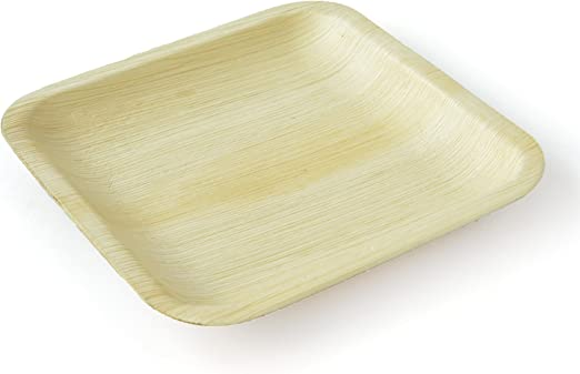 """100 PCS DISPOSABLE PLATES 8/"""" HOLIDAY PARTY DINNERWARE PALM LEAF PLATES ECO BAMBO"""