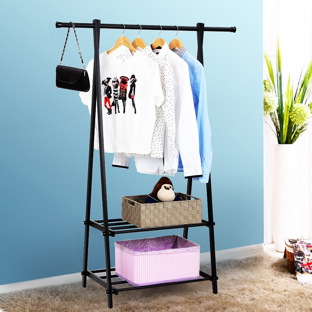 SONGMICS Black Metal Coat Rack 2-tier Garment Drying Rack Entryway ...
