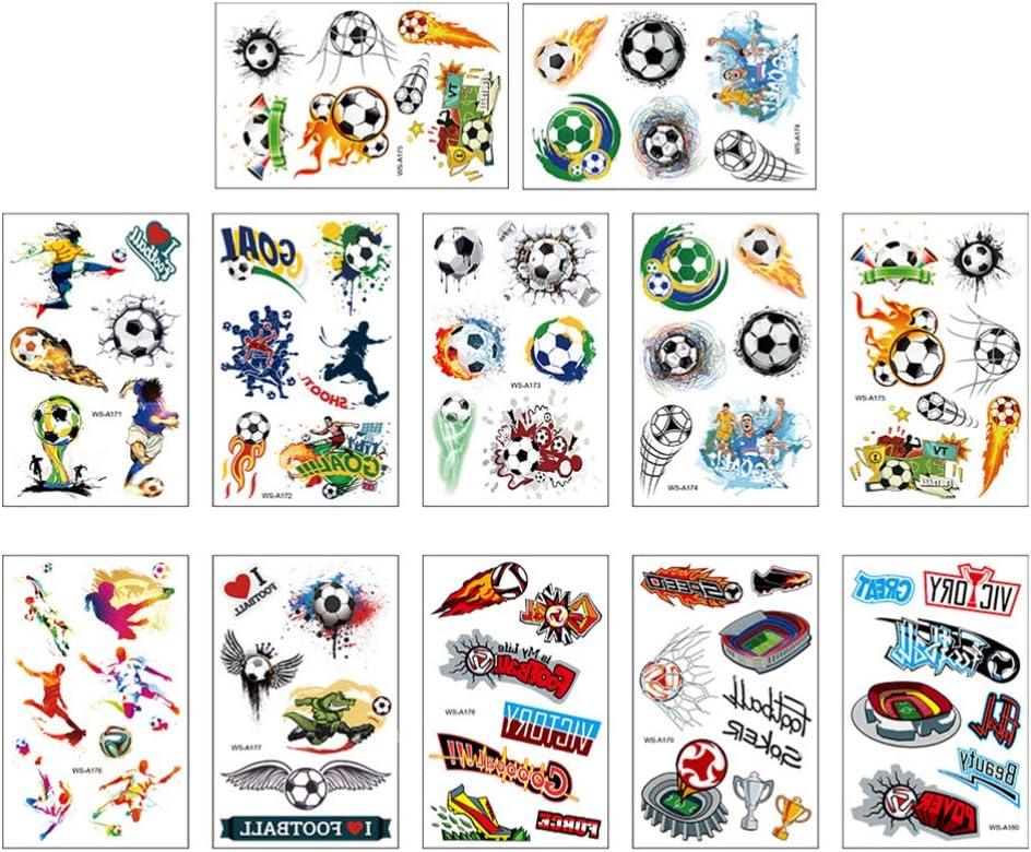 BESPORTBLE 12 Hojas Pegatinas de Tatuajes de Fútbol Pegatinas Temporales para 2020 Copa Mundial de Fútbol Tema Fiesta de Cumpleaños Favorece Regalos Estilo Aleatorio