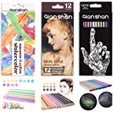 36 Count Colored Pencils Set - Professional Artist Colored Pencil Kit with 12 Metallic, 12 Macaron Color, 12 Skin Tones…