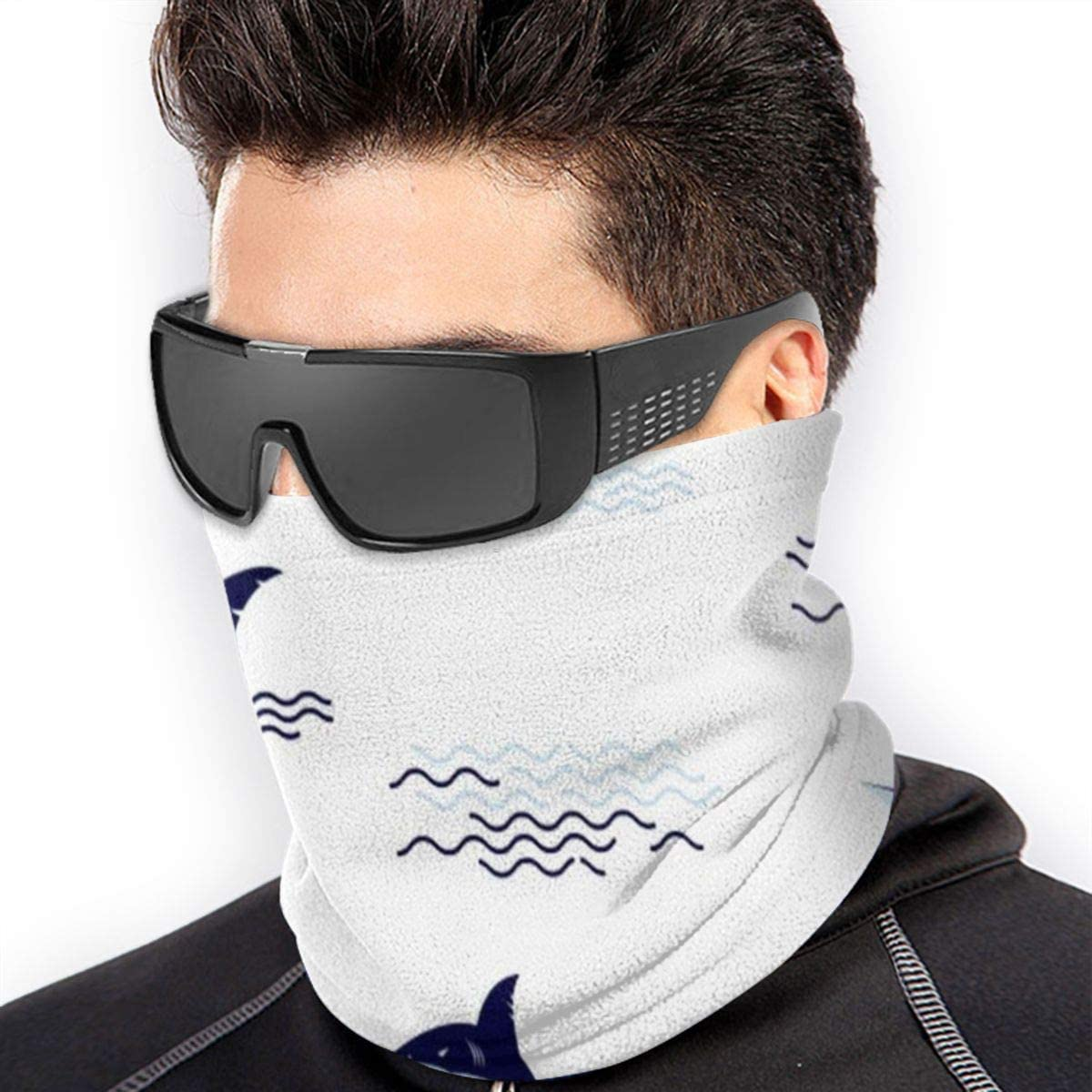 Shark Fin Tail Drawing Unisex Winter Fleece Neck Warmer Gaiters Hairband Cold Weather Tube Face Mask Thermal Neck Scarf Outdoor UV Protection Party Cover Black