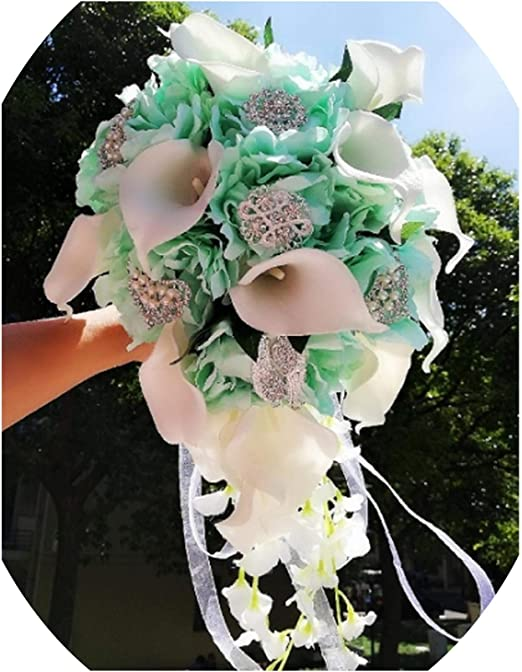 Bouquet Sposa Tiffany.Amazon Com Waterfall Red Wedding Flowers Bridal Bouquets