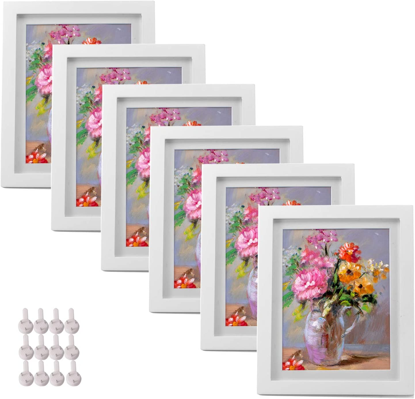 SUITUS 8X10 Photos Frames Set of 6, Display 7X9 Pictures with Mat or 8X10 Without Mat, Wall Gallery Frame Made of Solid Wood and HD Plexiglass, Display Pictures Frame for Table Top and Wall Mounting (White)