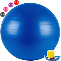 FITSY® Anti-Burst Yoga Exercise Gym Ball with Foot Pump, 55 cm