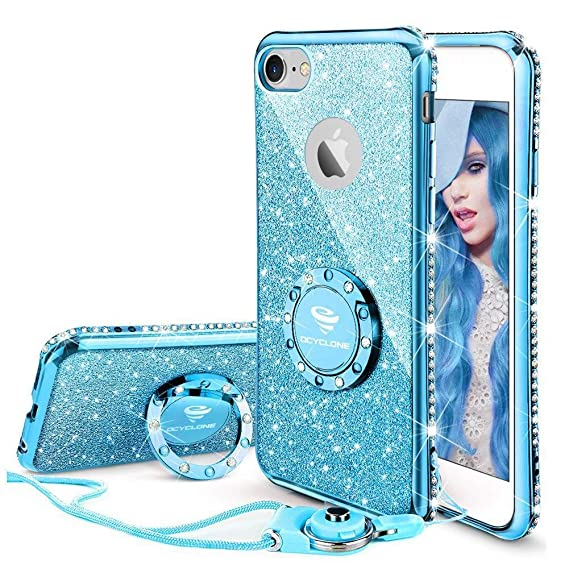 sports shoes 58b14 c574e OCYCLONE iPhone 6s Plus Case, iPhone 6 Plus Case for Girl Women, Glitter  Cute Girly Diamond Rhinestone Bumper with Ring Kickstand Protective Phone  ...