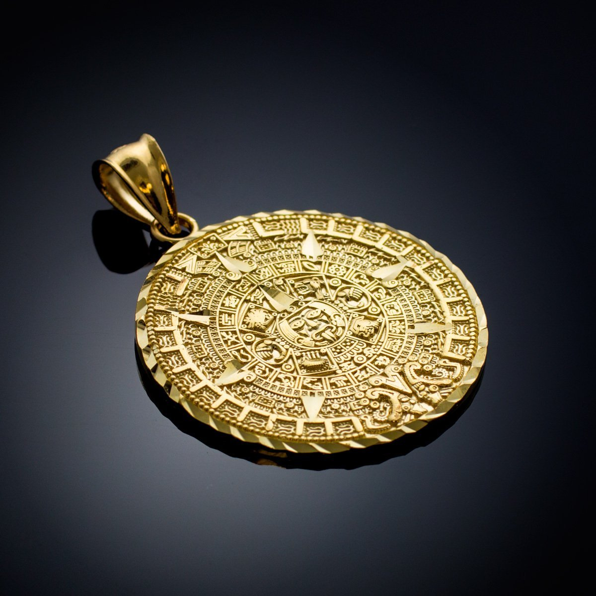 Amazon 14k yellow gold aztec charm mayan calendar pendant 254 amazon 14k yellow gold aztec charm mayan calendar pendant 254 millimeters mayan jewelry jewelry mozeypictures Images