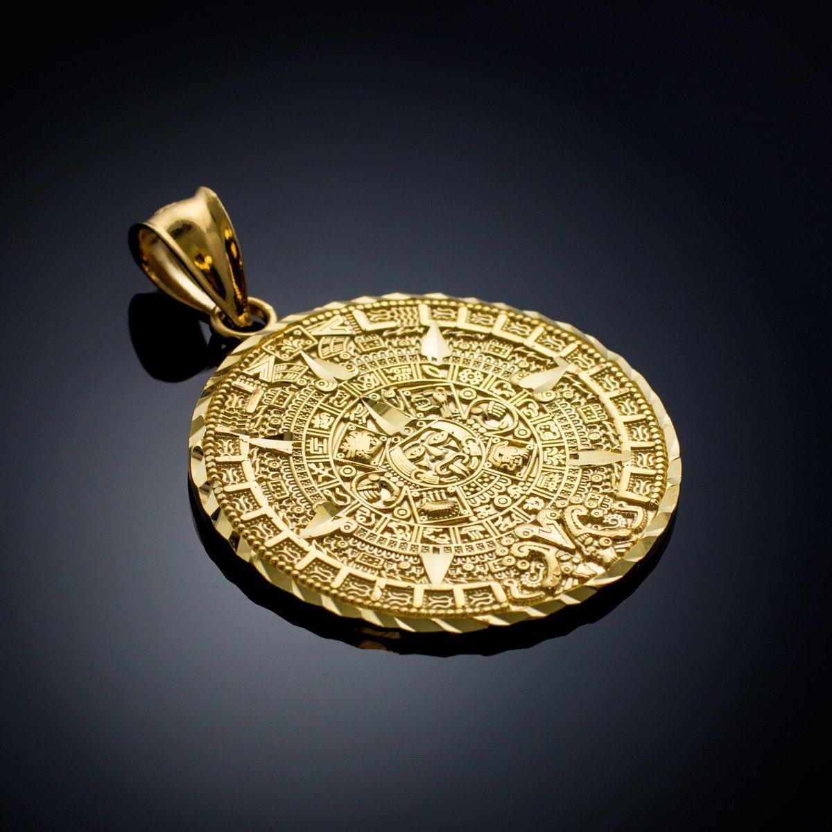 Amazoncom 14k Yellow Gold Aztec Charm Mayan Calendar Pendant 254