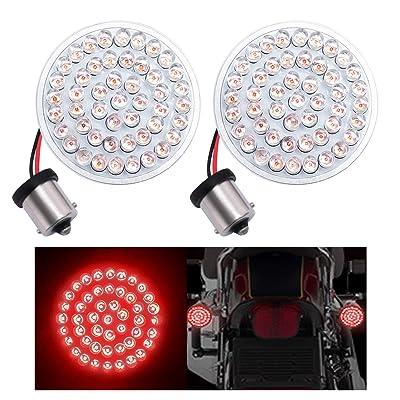 "Fuguang [2PC-2""] Motorcycle Rear LED Braking Signals Lights 1156 Rear Braking Lights Red for Harley Bullet Style, No Smoke Lenses(Red, 1156 Rear Braking Light): Automotive"