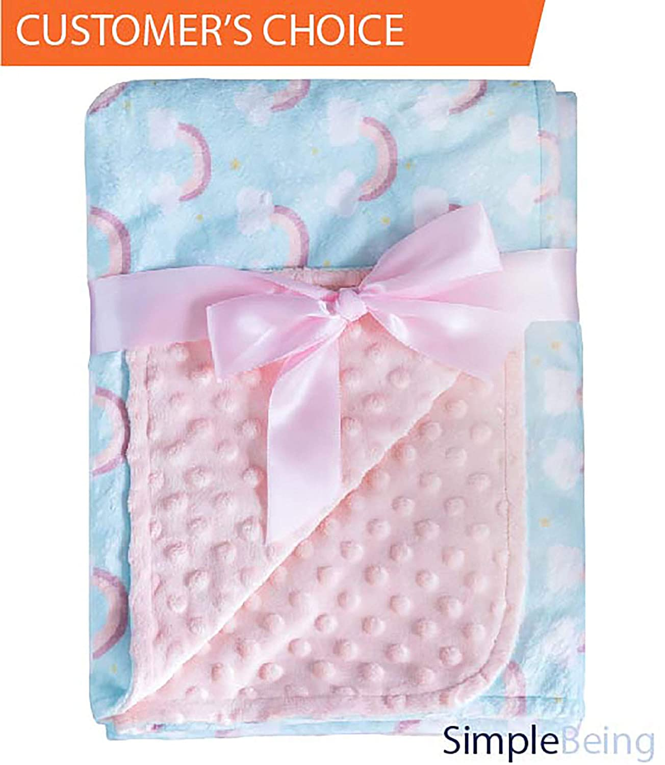 Simple Being Soft Minky Baby Blanket, Textured Dot and Printed Mat, Double Sided Girls Blanket (Rainbow), Shower Gift Registry
