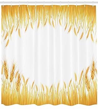 Ambesonne Harvest Shower Curtain Crop Rice Field Frame Cereal Bread Seasonal Farmland Flour Food Theme