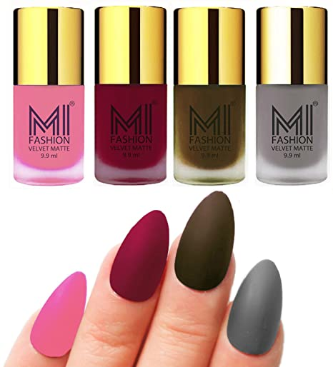 Mi Fashion Velvet Dull Matte Nail Polish Baby Pink Mauve Olive Brown