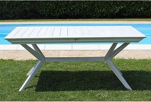 Mesa Bali 180/240 x 90 (madera de acacia maciza blanco para muebles jardín y exterior: Amazon.es: Jardín