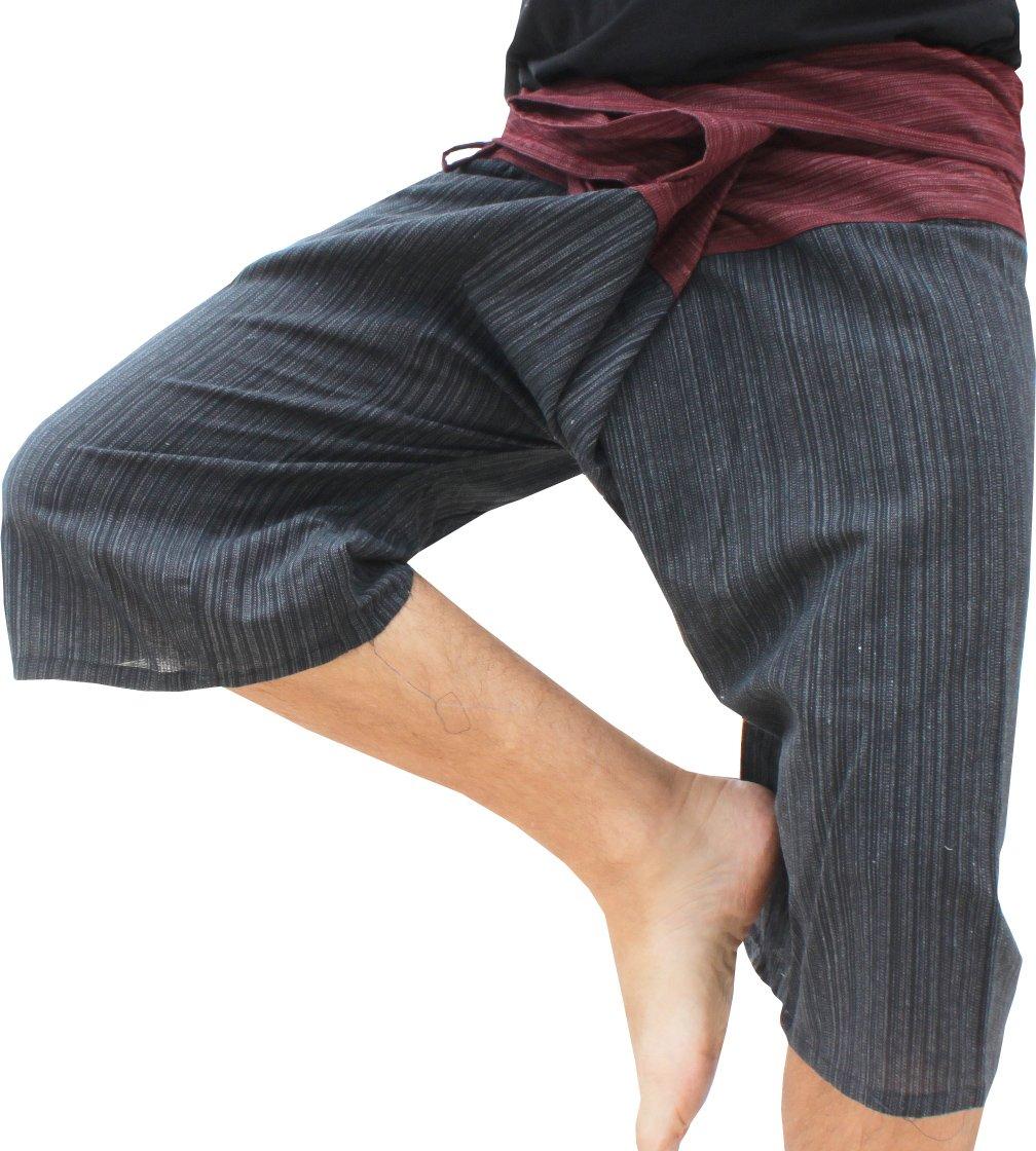 Raan Pah Muang Thin Striped Cotton Two Tone Fisherman Capri Wrap Plus Sized Pants, XX-Large, Dark Red Waist, Black Legs by Raan Pah Muang