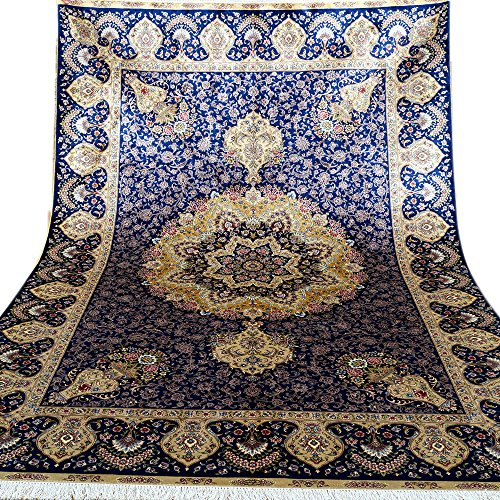 (Kerman Silk Rug Yilong 6'x9' Hand Knotted Classic Oriental Medallion and Flowers Vases Pattern Handmade Home Rugs (Blue) YL0261)
