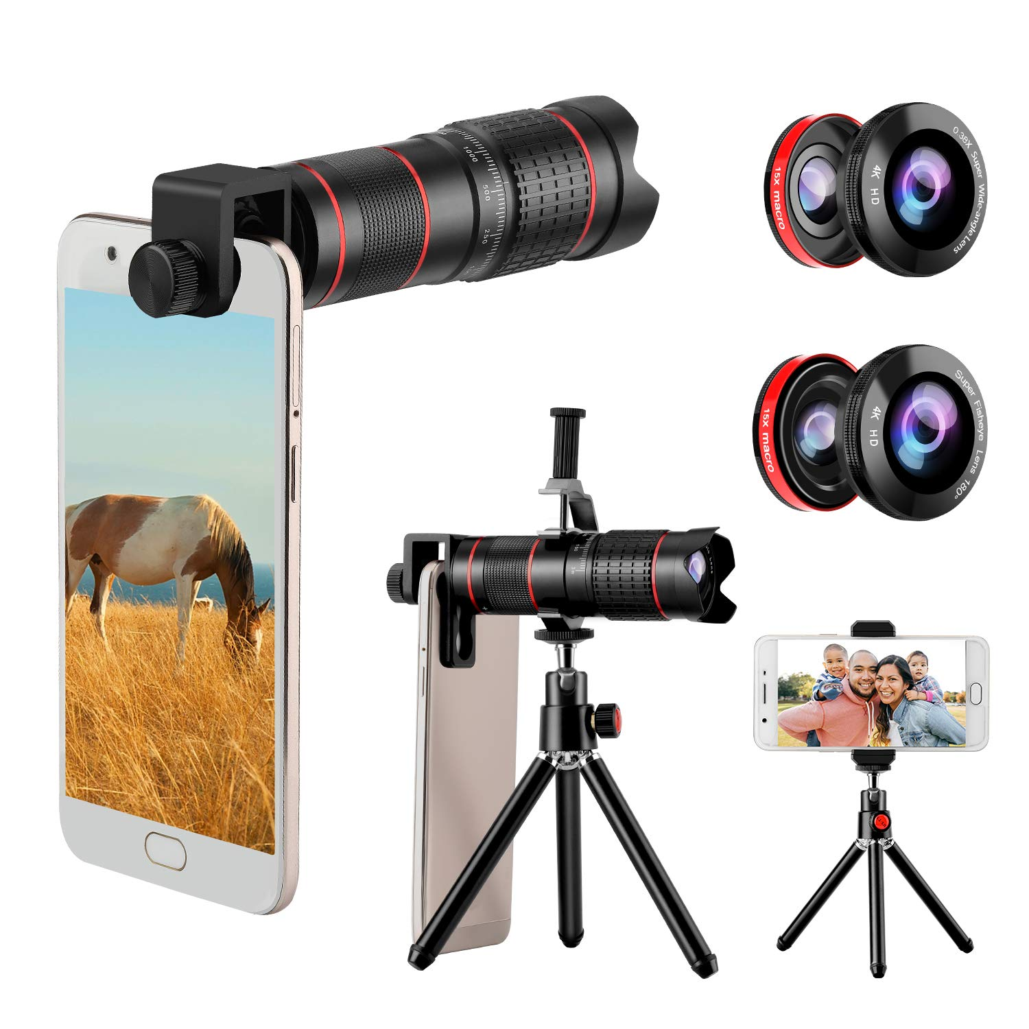 Phone Camera Lens, 5 in 1 Cell Phone Lens Kit 15X Telephoto Zoom Lens + Wide Angle + Fisheye + Macro Lens(2 Lens) Compatible with iPhone Samsung Android and Most Smartphones