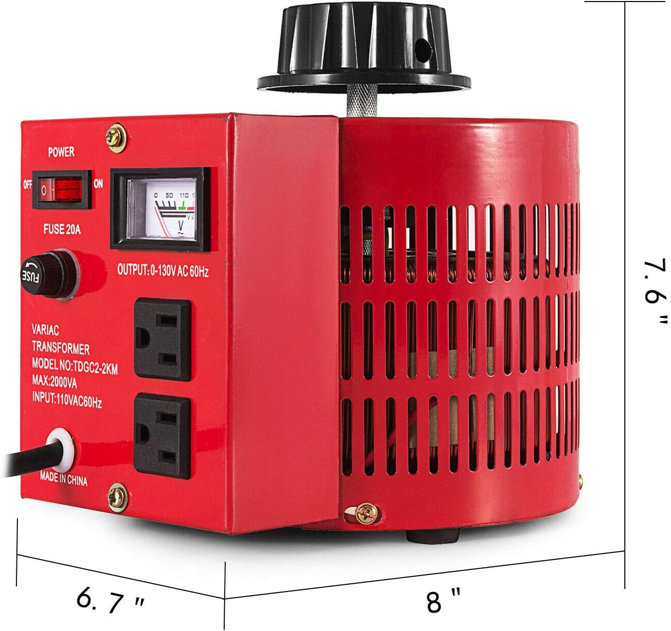 2000w AC 0-130V//60Hz Auto 20Amp Variable Transformer AC Voltage Regulator